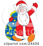 Santa Waving Hello While Walking With His Christmas Tree Star And Moon Patterned Toy Sack by Alex Bannykh