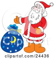Saint Nick Standing Beside His Blue Toy Sack With Star And Crescent Moons On It by Alex Bannykh
