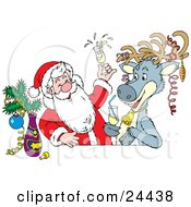 Clipart Illustration Of Santa And A Reindeer Getting Drunk At A Bar The Reindeer Wearing Ornaments On His Antlers by Alex Bannykh