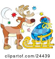 Clipart Illustration Of A Cute Brown Reindeer Wearing A Bell And Standing Under The Moon And Stars With Santas Sack On A Sled