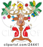Festive Christmas Reindeer Wearing A Red Jackt And Ornaments On His Antlers