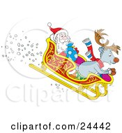 Clipart Illustration Of A Reindeer And Santa Claus Riding In A Sleigh While Speeding Downhill