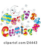 Clipart Illustration Of A Colorful Merry Christmas Greeting With Stars And A Crescent Moon