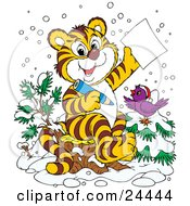 Clipart Illustration Of A Jolly Purple Bird In The Snow Wearing A Santa Hat Perched On A Tree By A Tiger Who Is Writing A Dear Santa Letter For Christmas by Alex Bannykh