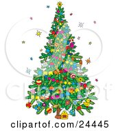Clipart Illustration Of Stars Around A Decorated Christmas Tree With Garlands And Ornaments by Alex Bannykh