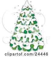 Clipart Illustration Of An Evergreen Tree Flocked In Snow On A Wintry Day