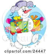 Clipart Illustration Of A Jolly Snowman Wearing A Purple Hat Carrying Gifts And Walking Through The Snow On Christmas