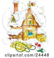 Clipart Illustration Of A Cute Stone House Under A Crescent Moon Covered In Snow With A Sled And Mittens In The Front Yard by Alex Bannykh