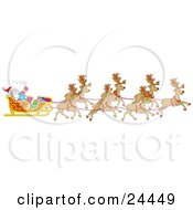 Clipart Illustration Of A Team Of Santas Reindeer Pulling The Sleigh On Christmas Eve by Alex Bannykh