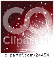 Clipart Illustration Of Bright Light With Stars Bursting From A Corner Over A Red Background by elaineitalia