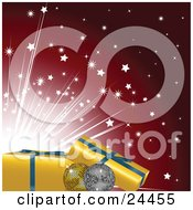 Clipart Illustration Of Gold And Silver Disco Ball Ornaments With Yellow Gifts With Blue Ribbons Over A Bright Burst Of Stars On A Red Background by elaineitalia