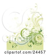 Clipart Illustration Of A Grunge Textured Background With Pale And Dark Green Curling Vines And Fluttering Butterflies