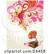 Clipart Illustration Of A Vintage Phonograph Playing Music Shown As Red Pink And Green Circles Flowers And Leaves Over An Off White Background