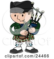 Clipart Illustration Of A Man Playing Bagpipes And Wearing A Kilt In Scotland