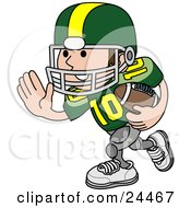 Clipart Illustration Of A Football Player Athlete In A Green And Yellow Uniform Running With The Ball In Hand by AtStockIllustration