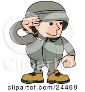 Clipart Illustration Of A Male Army Soldier In A Green Uniform And Helmet Saluting With His Hand by AtStockIllustration