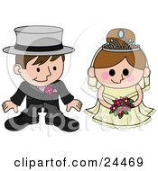 Clipart Illustration Of A Blushing Bride Standing Beside Her Groom During The Wedding Ceremony