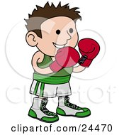 Male Boxer In A Green And White Unfiorm Wearing Red Gloves And Waiting For A Fight