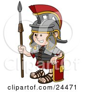 Clipart Illustration Of A Young Roman Soldier Man In A Helmet Leaning Against His Shield And Holding A Spear by AtStockIllustration