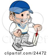 Smiling Cricket Player With A Helmet Ball And Bat