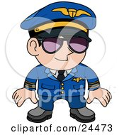 Clipart Illustration Of A Male Pilot In A Blue Uniform Wearing Shades And Standing Proud
