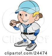 Clipart Illustration Of A Smiling Baseball Player Man In A Blue And White Uniform Resting A Bat On His Shoulder by AtStockIllustration