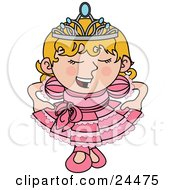 Spoiled Blond Princess Girl In A Pink Dress And Crown