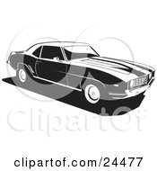 Clipart Illustration Of A 1970 Chevy Camaro Muscle Car With Racing Stripes On The Hood