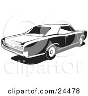 Clipart Illustration Of A 1966 Gto Muscle Car Made By Pontiac As Seen From The Rear Passenger Side Black And White