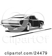 Clipart Illustration Of A 1970 Barracuda Muscle Car With Dual Exhaust Pipes Parked In Black And White by David Rey