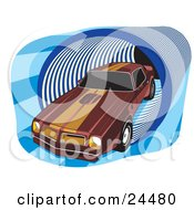 Clipart Illustration Of A 1977 Dark Red Pontiac Trans Am With Orange Racing Stripes On The Roof And Hood Driving Through A Blue Tunnel