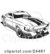 Clipart Illustration Of A 1967 Ford Mustang Gt500 Muscle Car With Racing Stipes On The Hood And Roof