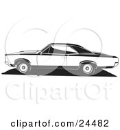 Clipart Illustration Of A 1966 Pontiac Gto Muscle Car In Profile Black And White