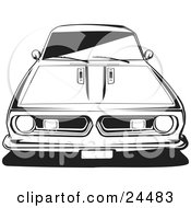 Clipart Illustration Of The Front End Of A 1970 Plymouth Barracuda Black And White by David Rey