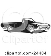 Clipart Illustration Of A Convertible Ford Thunderbird Car As Seen From The Passenger Side Black And White by David Rey #COLLC24484-0052
