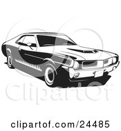 Clipart Illustration Of A 1970 Javelin Muscle Car Made By Amc With Hood Scoops And Side Decals by David Rey