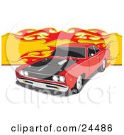 Clipart Illustration Of A Red 1968 Dodge Super Bee Muscle Car With A Black Hood And Hood Scoop And Dark Tinted Windows With A Flame Background