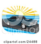 Clipart Illustration Of A Navy Blue 1968 Plymouth Barracuda Muscle Car Driving On A Coastal Road At Sunset