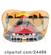 Clipart Illustration Of A Red 1970 Barracuda Muscle Car Driving In The Center Of A Desert Road A Sunset In The Background