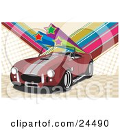 Clipart Illustration Of A Red 1960 Ac Shelby Cobra Car With A Convertible Top And Silver Racing Stripes Over A Checkered And Rainbow Star Background