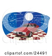 Clipart Illustration Of A Red 1968 Pontiac Firebird With Dark Tinted Windows On A Red And White Checkered Floor Under A Disco Ball In A Blue Room