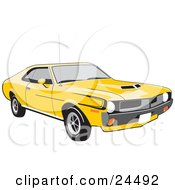Clipart Illustration Of A Bright Yellow 1970 Amc Javelin Muscle Car With Hood Scoops Tinted Windows And Black Decals On The Side