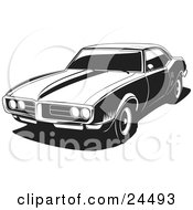 Clipart Illustration Of A 1968 Pontiac Firebird As Seen From The Front Driver Side Black And White by David Rey #COLLC24493-0052