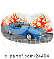 Clipart Illustration Of A Blue 1970 Chevrolet Camaro Muscle Car With Black Racing Stripes And Tinted Windows Parked By A Wall With Flames