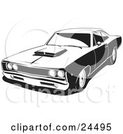 Clipart Illustration Of A 1968 Dodge Super Bee Muscle Car With A Hood Scoop Black And White