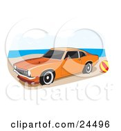 Clipart Illustration Of An Orange 1972 Ford Maverick Muscle Car With Whitewall Tires And Dark Tinted Windows Parked By A Ball On A Sandy Beach by David Rey