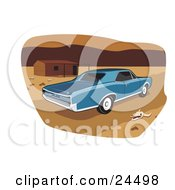Clipart Illustration Of A Blue 1966 Pontiac Gto Muscle Car Parked By A Deserted House And A Skull In A Desert Landscape