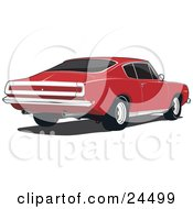 Clipart Illustration Of The Tail End Of A Red 1970 Plymouth Barracuda With Dual Exhaust Pipes by David Rey