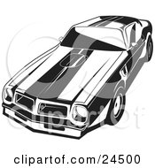 Clipart Illustration Of A 1977 Pontiac Trans Am With Racing Stripes And A Hood Scoop