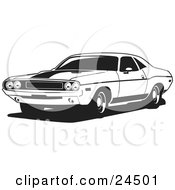Clipart Illustration Of A Light Blue 1970 Dodge Challenger Rt With A Black Hood Stripe And Tinted Windows by David Rey #COLLC24501-0052